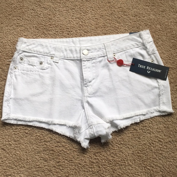 True Religion Pants - White True Religion Mid Rise Cut Off Shorts